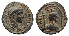 Ancient Coins - Elagabalus (218-222). Seleucis and Pieria, Laodicea ad Mare. Æ 17mm. R/ Turreted and draped bust of Tyche r. within distyle shrine.