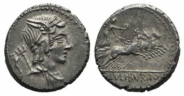 Ancient Coins - Rome Republic L. Julius Bursio, Rome, 85 BC. AR Denarius