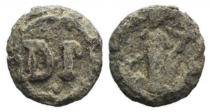 Ancient Coins - Egypt, Antinoöpolis area, c. 2nd-3rd century. PB Tessera. Dikaiosyne(?) standing l., holding cornucopia. R/ DP.