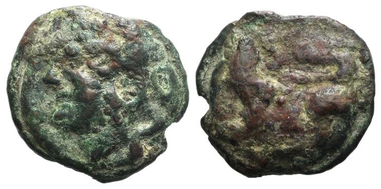 Ancient Coins - Rome Republic Anonymous, Rome, c. 215-212 BC. Cast AE Semis