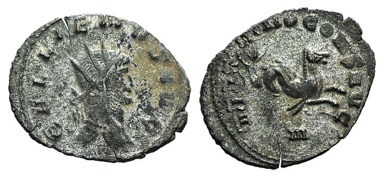 Ancient Coins - GALLIENUS. Sole reign, 260-268 AD. Antoninianus. Rome mint. Struck 268 AD. R / HIPPOCAMP