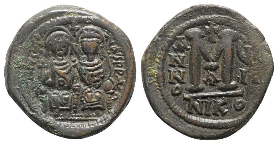 Ancient Coins - Justin II (565-578). Æ 40 Nummi - Follis. Nicomedia, year 7 (572/3)