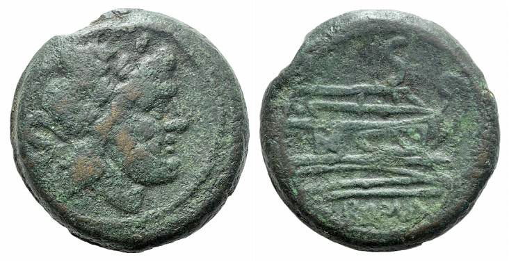 Ancient Coins - Rome Republic Anonymous, after 211 BC. Æ Semis