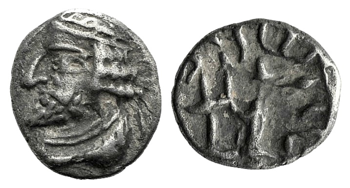 Ancient Coins - Kings of Persis. Oxathres (Vahsir) I (late 1st century BC). AR Obol