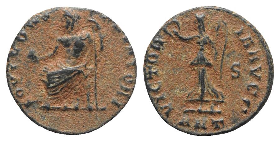 Ancient Coins - 'Persecution' issue, time of Maximinus II (310-313). Æ 13mm. Antioch. Jupiter / Victory