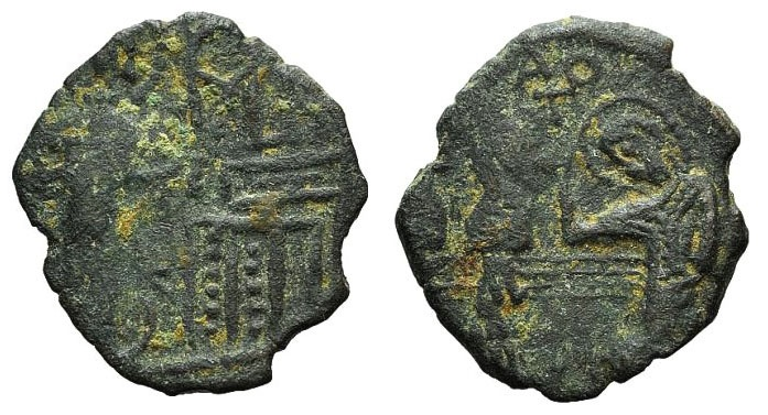 Ancient Coins - The Martyrdom of St. Demetrius - John V Palaeologus. 1341-1391. AE Assarion VERY RARE