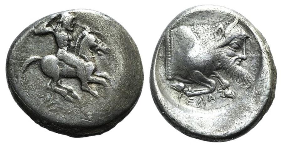 Ancient Coins - Sicily, Gela, c. 490/85-480/75 BC. AR Didrachm