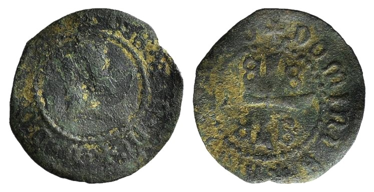 World Coins - CRUSADERS, Mytilene, Dorino Gattilusio (1428-1449). AE Denaro. Gothic D between two rosettes, R/ Palaeologan arms. VERY RARE