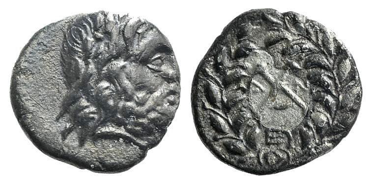 Ancient Coins - Achaian League. Antigoneia (Mantinea), c. 188-180 BC. AR Hemidrachm
