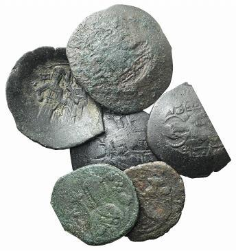 Ancient Coins - Lot of six Byzantine coins, including Alexius I, Sear 1929 (2); Manuel I, Sear 1966 (2); Isaac II, Sear 2003 (2).