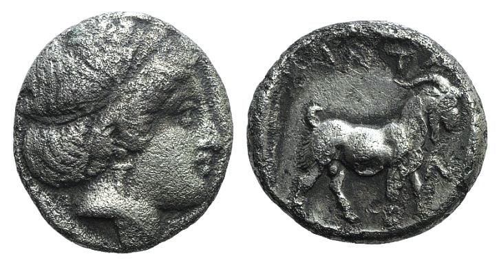 Ancient Coins - Troas, Antandros, late 5th century BC. AR Drachm. Head of female (Artemis Astyrene?) r. R/ Goat RARE