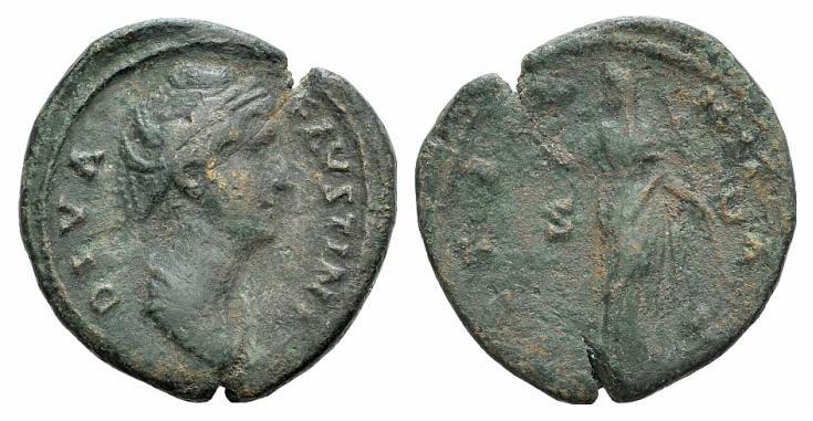 Ancient Coins - Diva Faustina Senior (died 140/1). AE As R/ Vesta