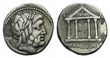 Roman Republic, M. Volteius M.f.,  AR Denarius, Rome, 75 BC.  R/ TEMPLE
