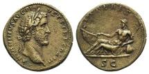 Ancient Coins - ANTONINUS PIUS. 138-161 AD. Æ Sestertius. Struck 138-144 AD. R/ TIBERIS