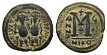 Ancient Coins - Justin II (565-578). Æ 40 Nummi. Nicomedia, year 7 (572/3).