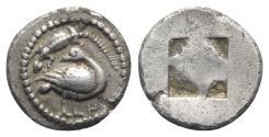 Ancient Coins - Macedon, Eion, c. 5th century BC. AR Diobol. Goose and  lizard  NICE !!