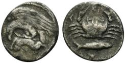 Ancient Coins - Sicily, Akragas, c. 420-410 BC. AR Hemidrachm. Eagle R/ Crab