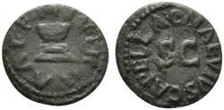 Ancient Coins - Augustus (27 BC-14 AD). Æ Quadrans. Rome; C. Naevius Capella, moneyer, 4 BC. Large S C. R/ Altar