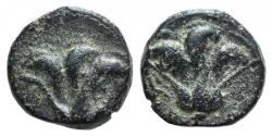 Ancient Coins - Island of Caria. Rhodes, c. 205-190 BC. Æ 9mm. Rose. R/ Rose