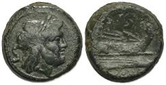 Ancient Coins - ROME REPUBLIC Anonymous, Rome, after 211 BC. Æ Semis