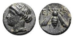 Ancient Coins - Ionia, Ephesos, c. 375 BC. Æ - Female head / Bee