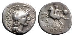 Ancient Coins - Roman Republic - M. Sergius Silus, Rome, 116-115 BC. AR Denarius