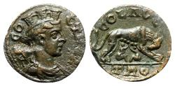 Ancient Coins - Troas, Alexandria, c. mid 3rd century AD. Æ - Tyche / Wolf