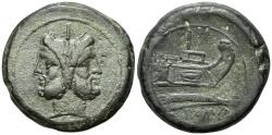 Ancient Coins - ROME REPUBLIC Anonymous, Rome, after 211 BC. Æ As  (38.5mm, 42.58g). Laureate head of Janus. R/ Prow of galley LARGE FLAN