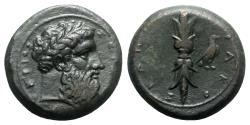 Ancient Coins - Sicily, Syracuse, c. 339/8-334 BC. Æ Hemidrachm. Had of Zeus Eleutherios R/ Upright thunderbolt
