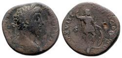 Ancient Coins - Marcus Aurelius (161-180). Æ Sestertius - Rome - R/ Mars
