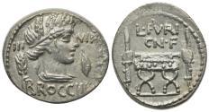 Ancient Coins - ROME REPUBLIC L. Furius Cn.f. Brocchus, Rome, 63 BC. AR Denarius R/ CURULE CHAIR EXTREMELY FINE