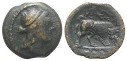 Ancient Coins - Gaul, Massalia, c. 150-100 BC. Æ 13mm.  R/ Bull