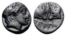 Ancient Coins - Mysia, Pergamon, c. 450 BC. Æ - Apollo / Bull heads