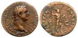Ancient Coins - Domitian (81-96). Æ As - Rome - R/ Virtus