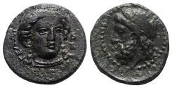 Ancient Coins - Sicily, Gela, c. 315-310 BC. Æ - Demeter / Head of Gelas