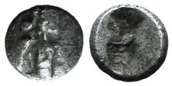 Ancient Coins - Cilicia, Uncertain, c. late 5th century BC. AR Tetartemorion. Crowned head of Persian king