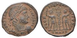 Ancient Coins - Constantius II (337-361). Æ 16mm. Antioch, 337-341.  R/ Two soldiers