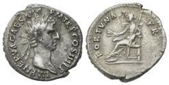 Ancient Coins - Nerva (96-98). AR Denarius. Rome, AD 96.  R/ Fortuna seated