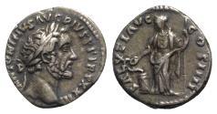 Ancient Coins - Antoninus Pius (138-161). AR Denarius. Rome, 159-160. R/ SALUS
