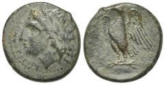 Ancient Coins - Sicily, Syracuse. Hiketas II (287-278 BC). Æ 21mm, c. 283-279. R/ EAGLE
