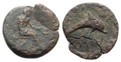 Ancient Coins - Islands of Sicily, Lipara, c. 400-380 BC. Æ Hemilitron - Hephaistos / Dolphin