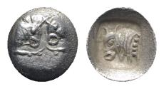 Ancient Coins - Caria, Uncertain, c. 5th century BC. AR Tetartemorion. Confronted foreparts of bull. R/ Forepart of bull