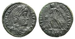 Ancient Coins - Valentinian I (364-375). Æ 17mm. Siscia, 367-375. R/ Victory