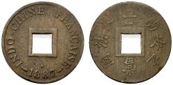 World Coins - French Indochine (Indochina)  2 Sapeque 1887. KM 6. VF