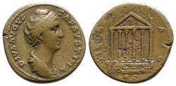 Ancient Coins - Diva Faustina Senior (died 140/1). Æ Sestertius - Rome - R/ Hexastyle temple