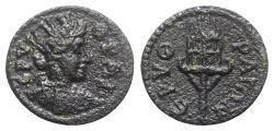 Ancient Coins - Ionia, Erythrae. Pseudo-autonomous issue, mid 3rd century AD. Æ - Tyche / Fire beacon