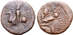 World Coins - Italy, Mileto. Ruggero I (1071-1101). Æ Trifollaro, c. 1098-1101. Ruggero on horseback  R/ Virgin enthroned, holding Holy Child.
