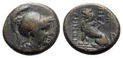 Ancient Coins - Phrygia, Peltai, c. 2nd-1st century BC. Æ - Athena / Lion