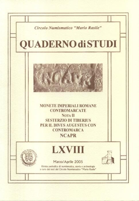 Ancient Coins - Martini Rodolfo, Monete imperiali contromarcate, sesterzio di Tiberio per il Divus Augustus con contromarca NCAPR.