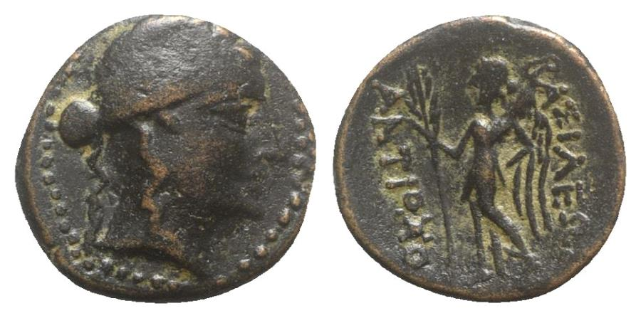 Ancient Coins - Seleukid Kings, Antiochos III 'the Great' (222-187 BC). Æ - Apollo / Nike
